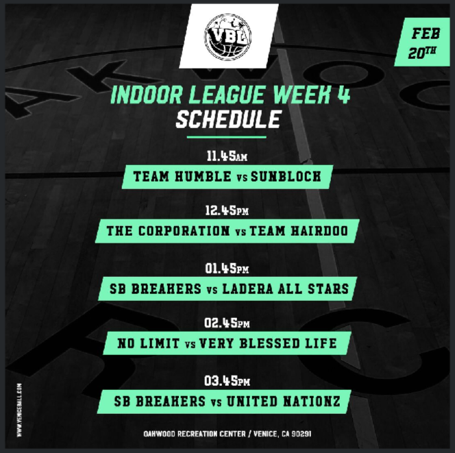 VBL Week 4 – Come get your court side seats + Full Games