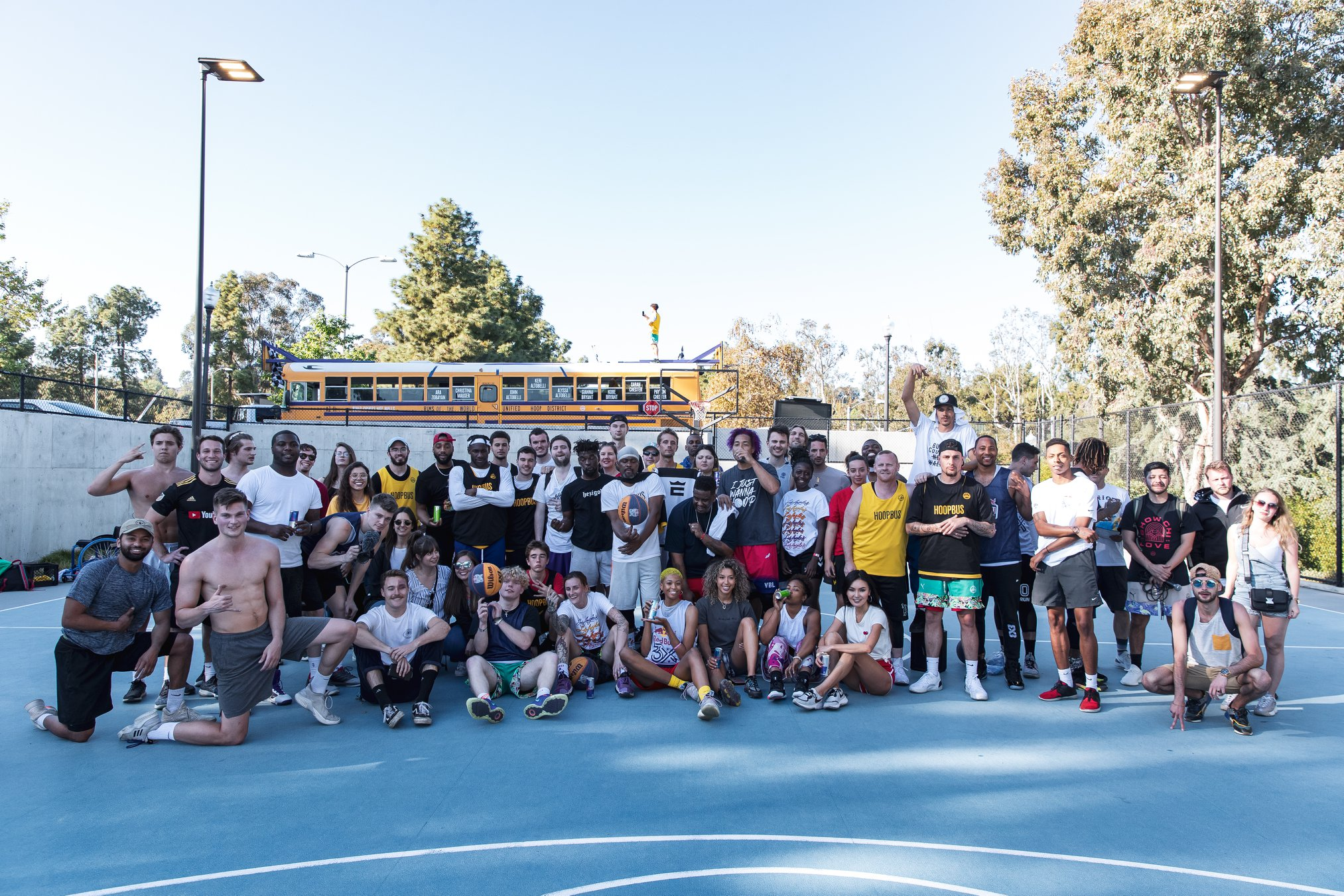 100 hoopers unite to celebrate 3×3 Day touring LA on a Tuesday.