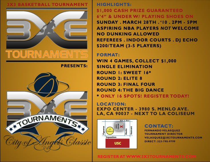 3on3 Tournament March 28th. Get $$$$